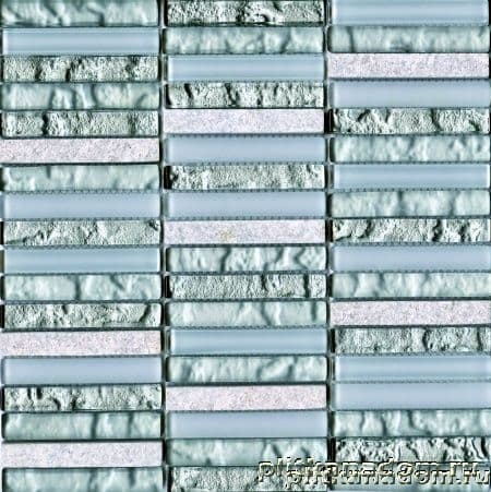 L'Antic Colonial Mosaico Tecno Linear Silver White G517 Мозаика (кубик 1,5х9,7) 29,6x29,6