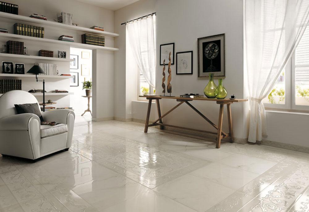 Белая плитка на полу фото