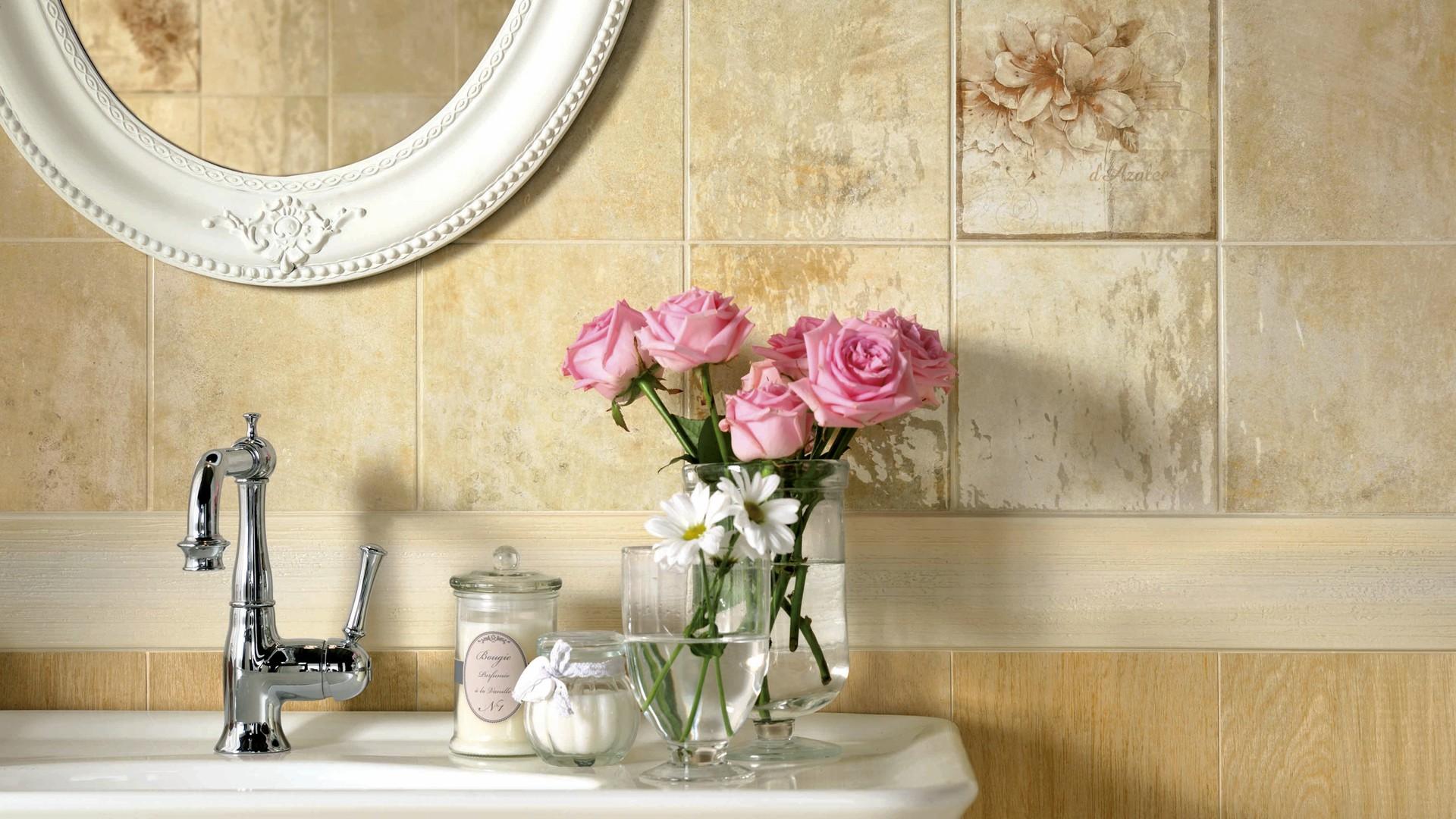 Wallpaper over ceramic tile